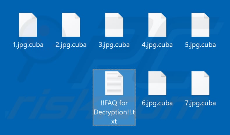 Files encrypted by Cuba ransomware (.cuba extension)