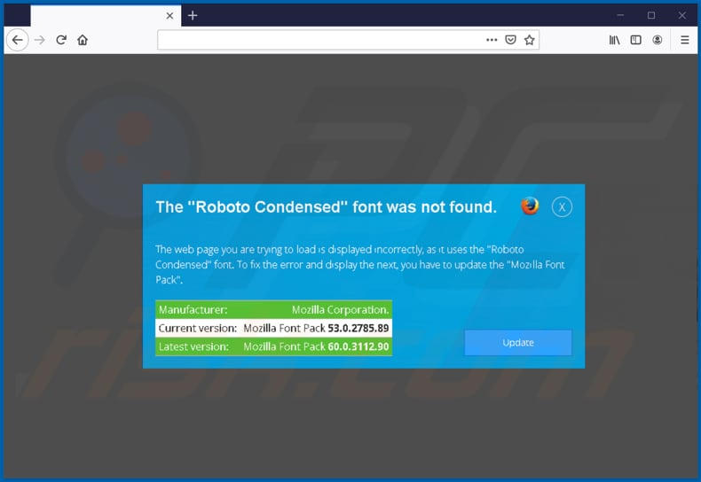 zloader malware scam page encouraging to download a font on mozilla