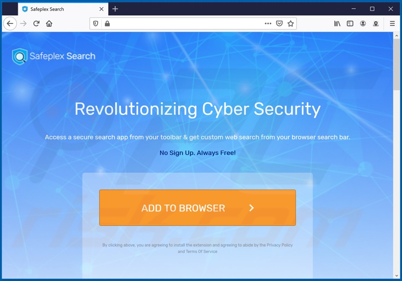Website used to promote Safeplex Search browser hijacker