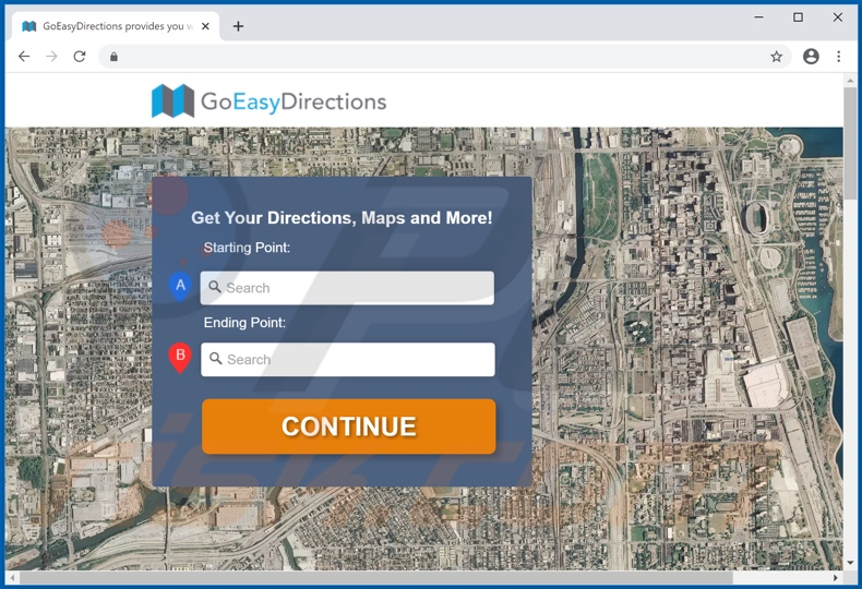 Website used to promote Go Easy Directions Promos adware