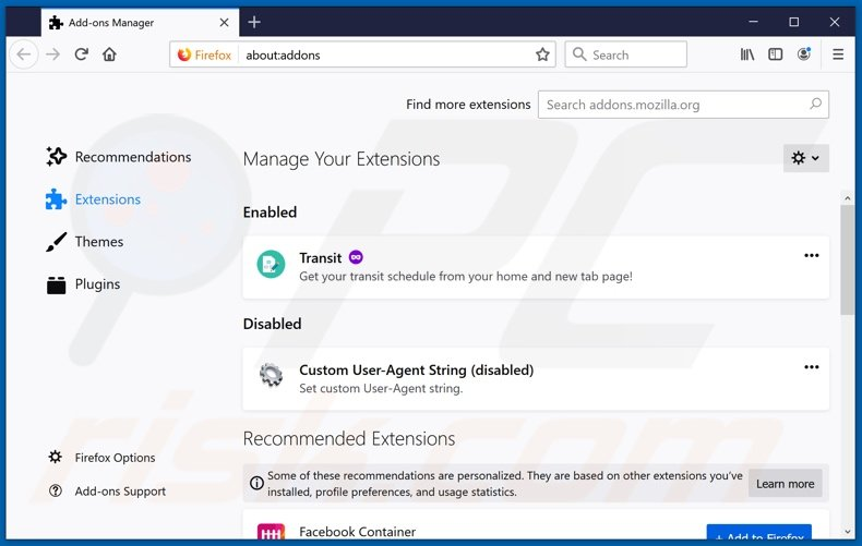 Removing feed.twistedsearch.com related Mozilla Firefox extensions