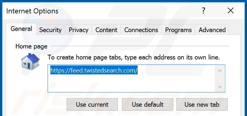 Removing feed.twistedsearch.com from Internet Explorer homepage