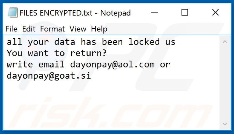 DOP ransomware text file (FILES ENCRYPTED.txt)