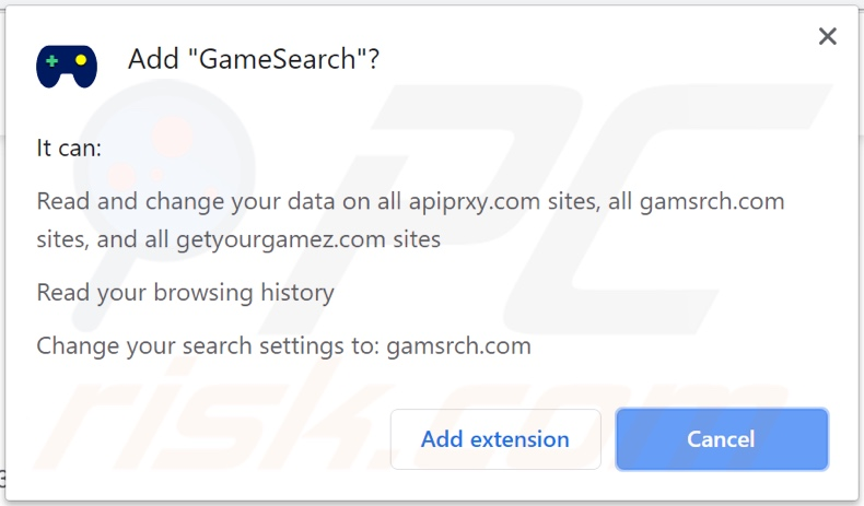 GameSearch browser hijacker asking for permissions