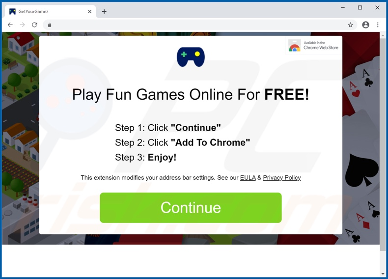Website used to promote GameSearch browser hijacker