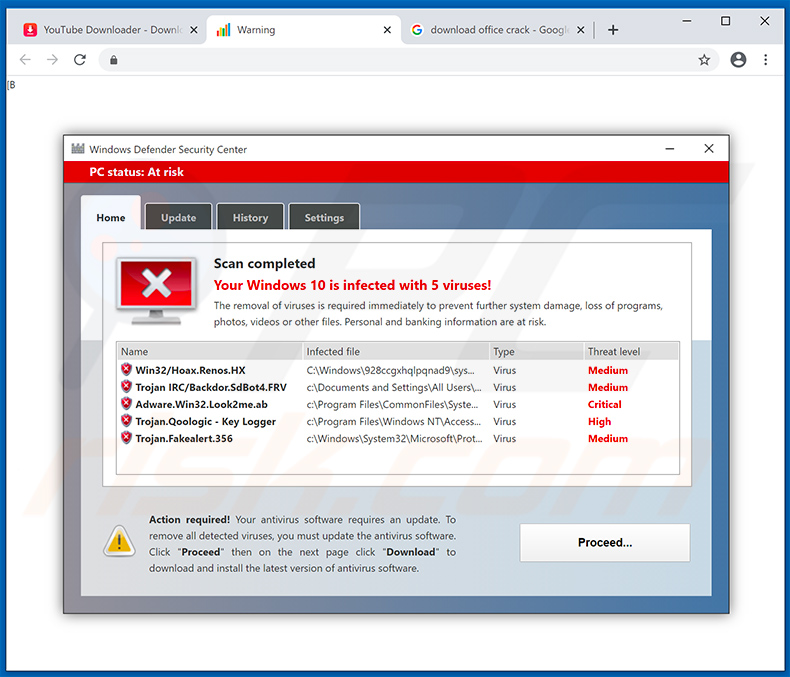 Your Windows 10 is infected with 5 viruses! pop-up scam