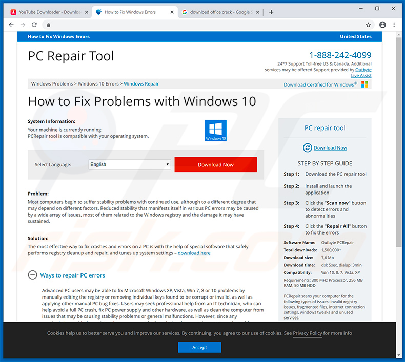 Website that Your Windows 10 is infected with 5 viruses! redirects to