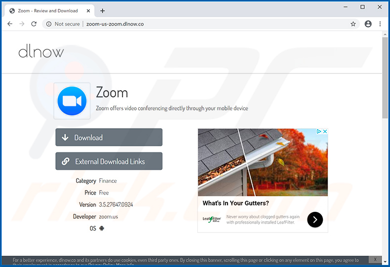 Zoom virus spreading website