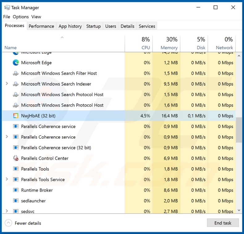 MassLogger malware process on task manager (NwjHbAE)