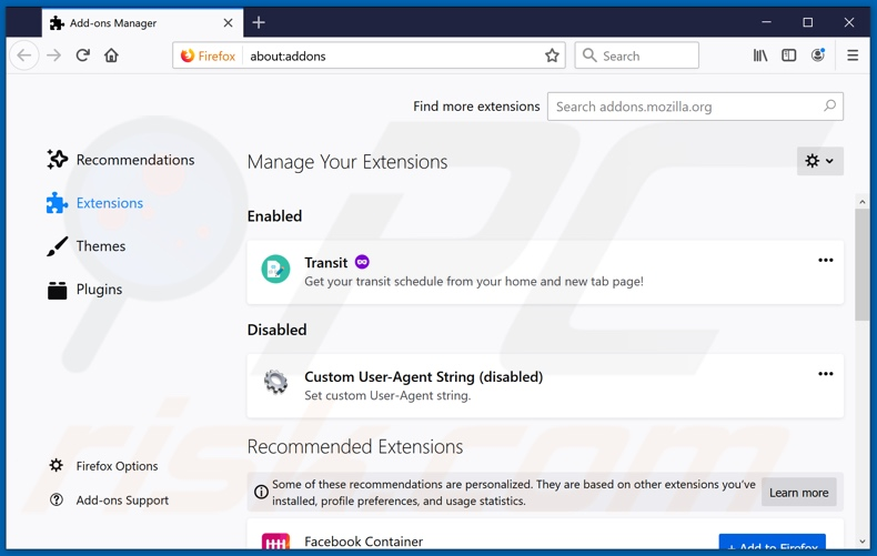 Removing s3arch.page related Mozilla Firefox extensions