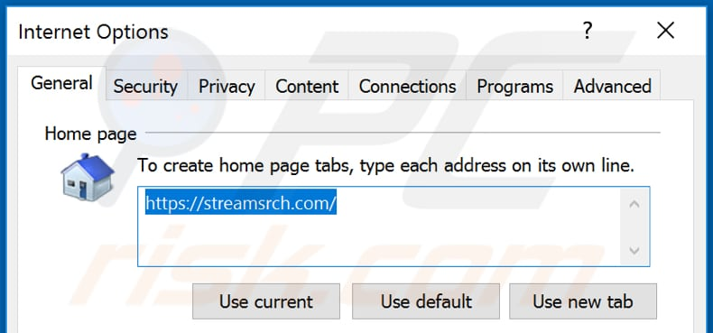 Removing streamsrch.com from Internet Explorer homepage