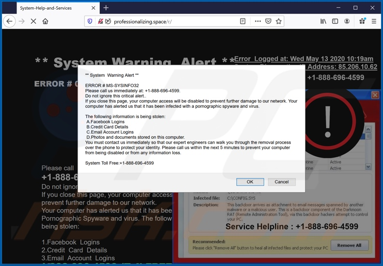 System Warning Alert scam
