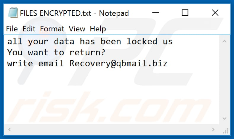 Credo ransomware text file (FILES ENCRYPTED.txt)