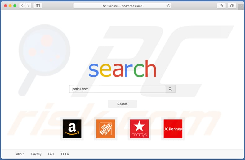 searches.cloud browser hijacker on a Mac computer