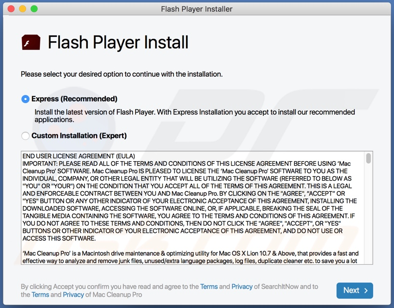 EssentialCommand adware proliferated via fake Flash Player updater/installer