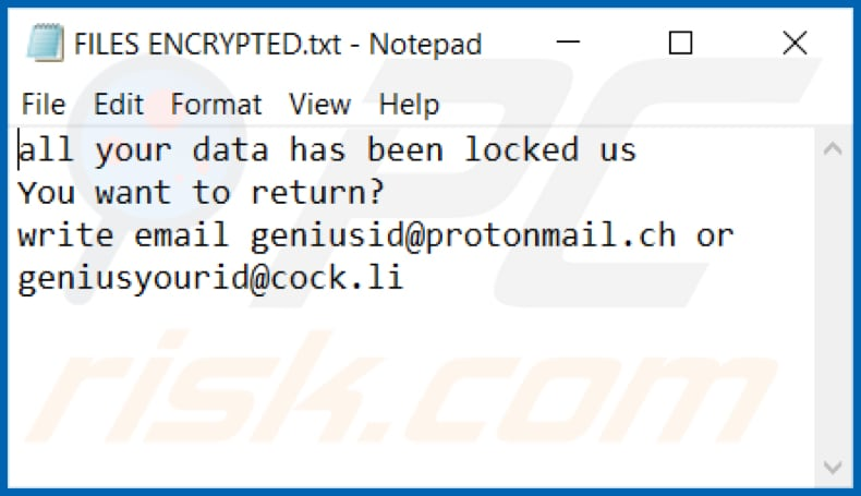 GNS ransomware text file (FILES ENCRYPTED.txt)