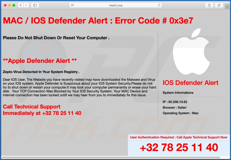 IOS /MAC Defender Alert scam background page