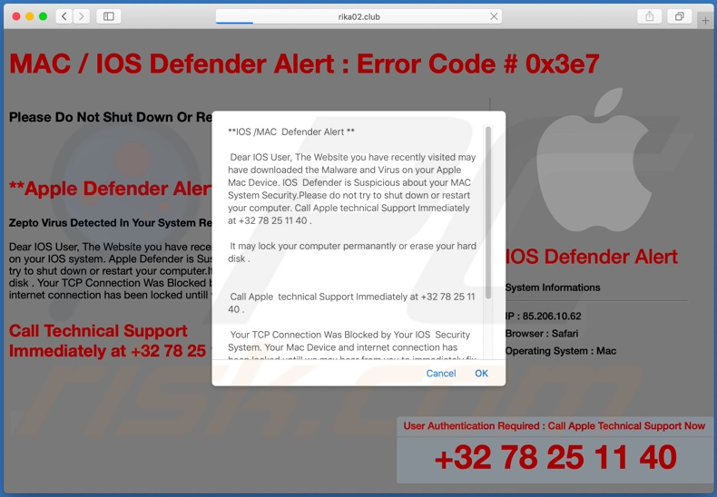 IOS /MAC Defender Alert scam