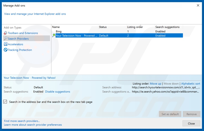 Removing removenotifications.com from Internet Explorer default search engine