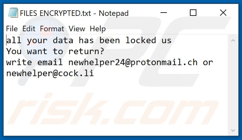 NW24 ransomware text file (FILES ENCRYPTED.txt)