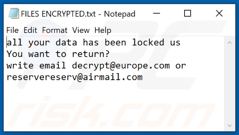 Eur ransomware text file (FILES ENCRYPTED.txt)