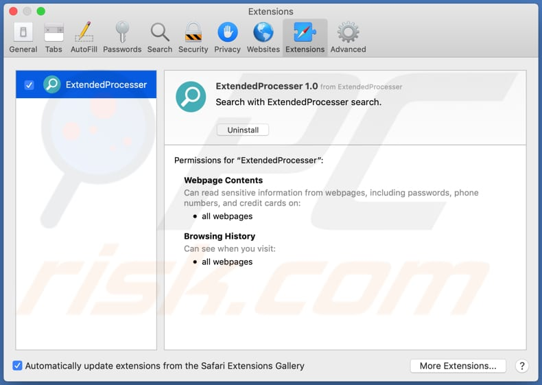 extendedprocesser adware safari extension