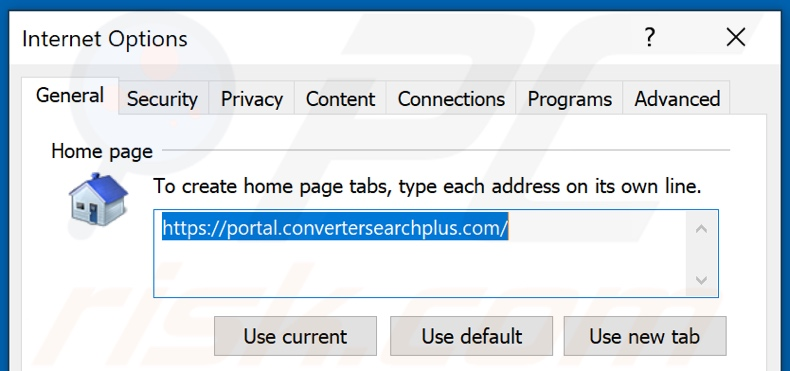 Removing convertersearchplus.com from Internet Explorer homepage