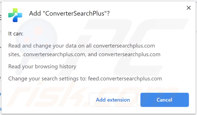 ConverterSearchPlus browser hijacker asking for permissions