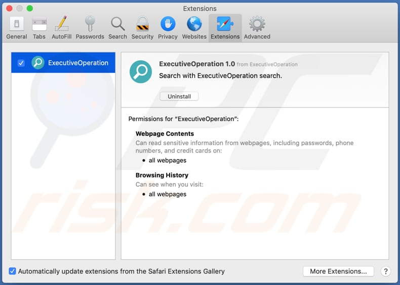executiveoperation adware safar extension