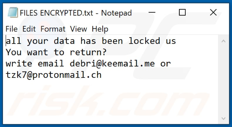 RXD ransomware text file (FILES ENCRYPTED.txt)