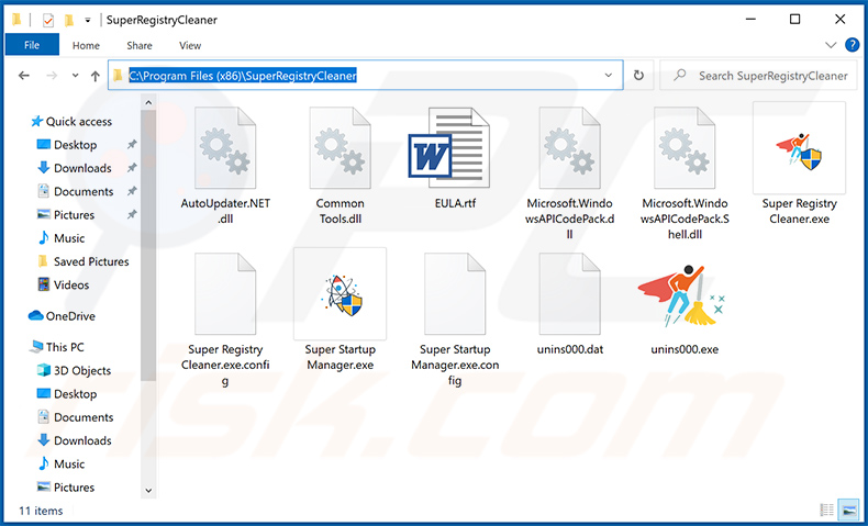 File dell'applicazione indesiderata SuperRegistryCleaner