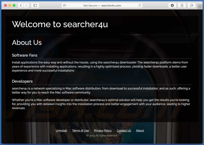 Sito che promuove searcher4u.com browser hijacker